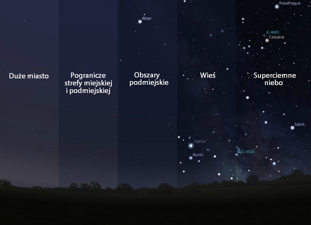 W Bieszczadach można zobaczyć 7000 gwiazd. W dużym polskim mieście najwyżej 200. Niebo jest tam 80 razy jaśniejsze niż w Bieszczadach.