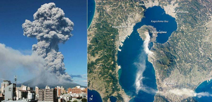 Erupcja wulkanu Sakurajima w Japonii