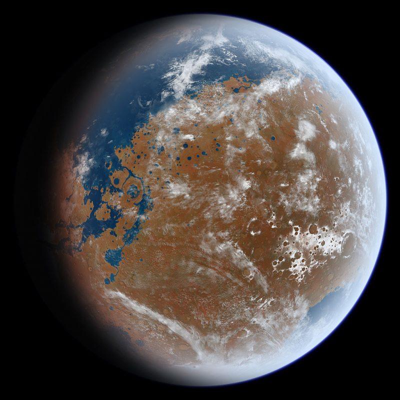 Mars pokryty wodą - tak mógł wyglądać miliard lat temu.