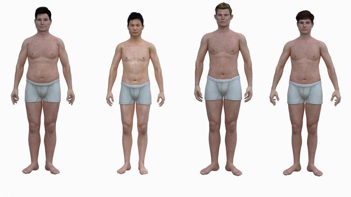 Amerykanin, Japończyk, Holender i Francuz, uśrednione sylwetki mężczyzn w wieku od 30 do 39 lat. Ilustracja: Nickolay Lamm/MyVoucherCodes.co.uk