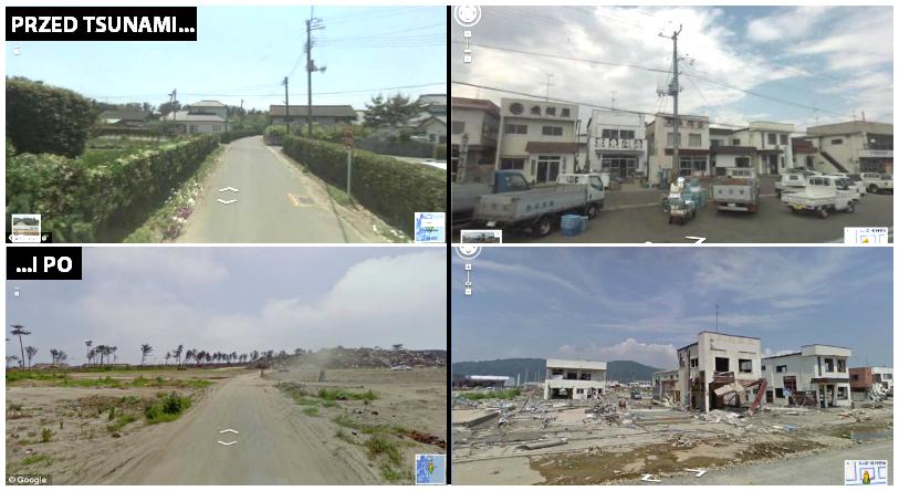 Wybrzeże Japonii przed i po tsunami. Fot. Google