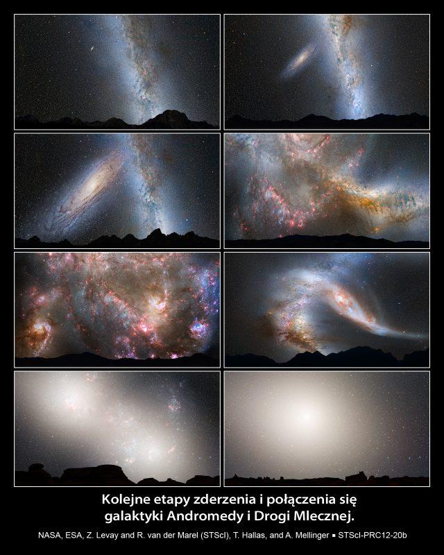 Zderzenie galaktyk - kolejne etapy.