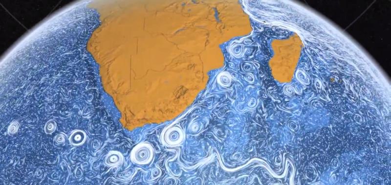 Południowy kraniec Afryki i prąd Agulhas. Ilustracja: NASA