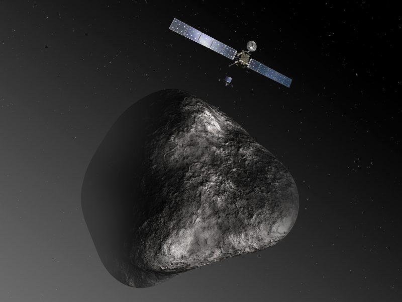 Sonda Rosetta nad kometą Czuriumow-Gierasimienko. Ilustracja: ESA