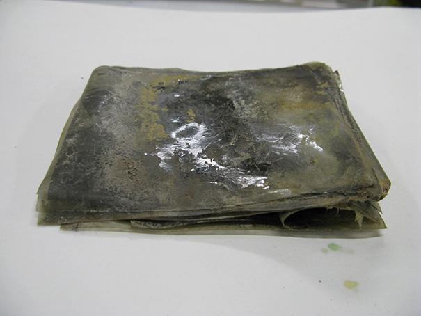 Nitrocelulozowe negatywy, które w bloku lodu przeleżały 100 lat, były połączone w jeden blok. Konserwatorzy zdołali je rozdzielić i dowiedzieć się, co zostało sfotografowane. Fot. Antarctic Heritage Trust, nzaht.org