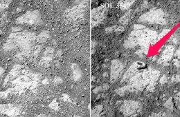 Tajemnicze pojawienie się kamienia na Marsie. Zdjęcie po prawej zrobione jest w 12 dni po tym z lewej - widać kamień, który wziął się nie wiadomo skąd. Fot. NASA