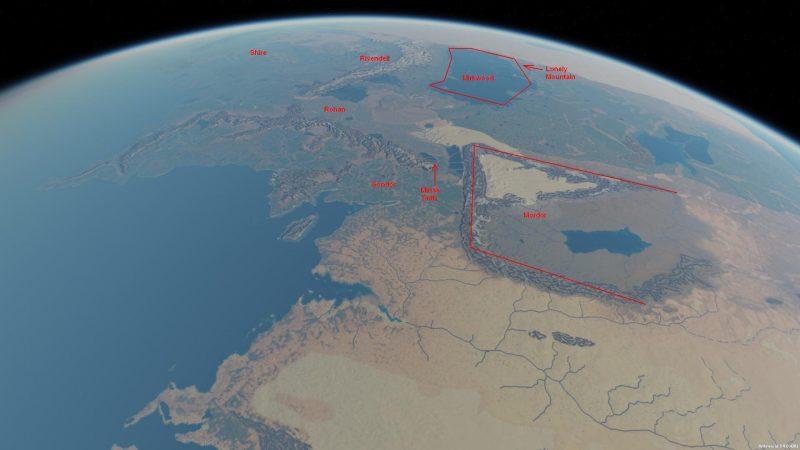 Śródziemie z naniesionymi nazwami krajów. Źródło: http://www.me-dem.me.uk/