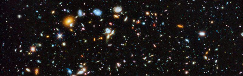 Fragment zdjęcia nieba pełnego galaktyk. Fot. NASA, ESA, H. Teplitz and M. Rafelski (IPAC/Caltech), A. Koekemoer (STScI), R. Windhorst (Arizona State University), and Z. Levay (STScI)