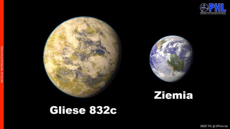 Gliese 832c jest jedną z najbardziej podobnych do Ziemi egzoplanet. Rys. PHL@UPR Arecibo