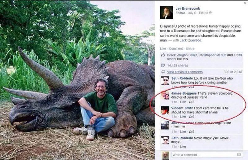 """""""To jest Steven Spielberg, reżyser Jurassic Park"""". """"Nie obchodzi mnie, kto to jest. Nie powinien był zabijać tego zwierzęcia""""..."""