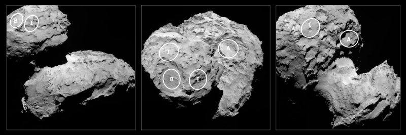 Gdzie wylądować na komecie? Fot. ESA/Rosetta/MPS for OSIRIS Team MPS/UPD/LAM/IAA/SSO/INTA/UPM/DASP/IDA