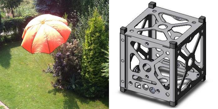 Zaprojektowany przez Adama i Mateusza spadochron i model kapsuły, w której zostanie wyniesiony sprzęt. Źródło: Fokus One - Kosmos w 3D