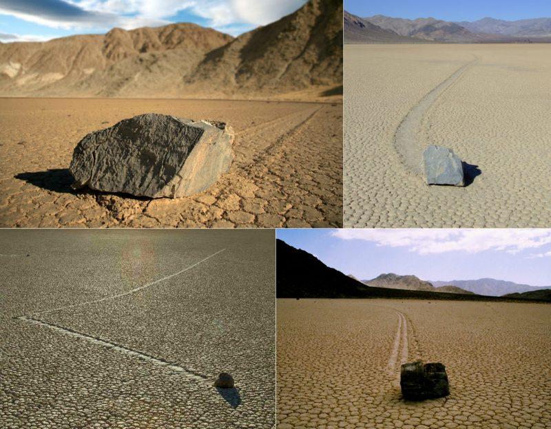 Wędrujące kamienie w Dolinie Śmierci. Fot. Pirate Scott/Lgcharlot/Jon Sullivan/Tahoenathan/Wikimedia