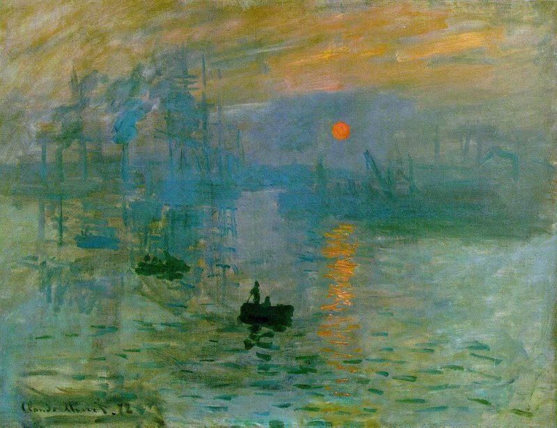 """Claude Monet na obrazie """"Impresja, wschód słońca"""" uchwycił widok z okna swojego hotelu we francuskim mieście Hawr. Dokładną datę wydarzeń na płótnie ustalono, biorąc pod uwagę pozycję słońca na niebie i stan pływów morskich. Fot. Wikimedia"""