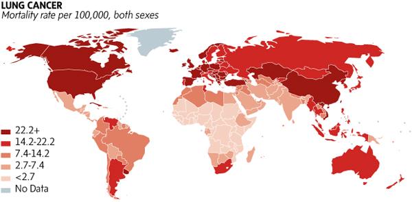 Rak płuc - liczba zgonów w poszczególnych krajach. Źródło:  International Agency for Research on Cancer (IARC)