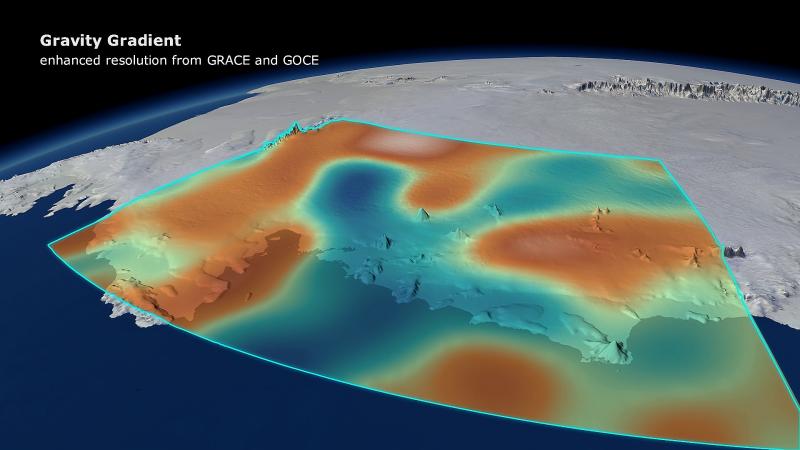 Wizualizacja pola grawitacyjnego w Antarktydzie Zachodniej. Fot. ESA/DGFI/Planetary visions