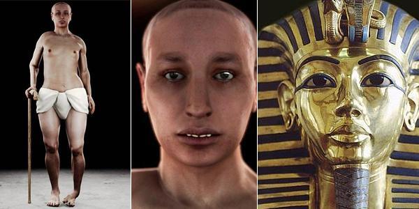 Rekonstrukcja wyglądu Tutanchamona oraz jego maska pogrzebowa (po prawej). Fot. BBC One/Carsten Frenzl/Wikimedia
