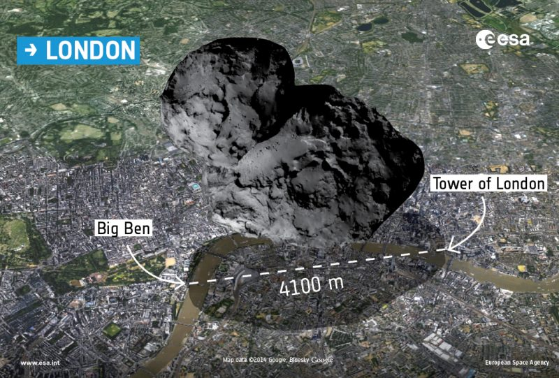 Porównanie rozmiarów komety i Londynu. Rys. kometa: ESA/Rosetta/Navcam; mapa ©2014 Google, Bluesky