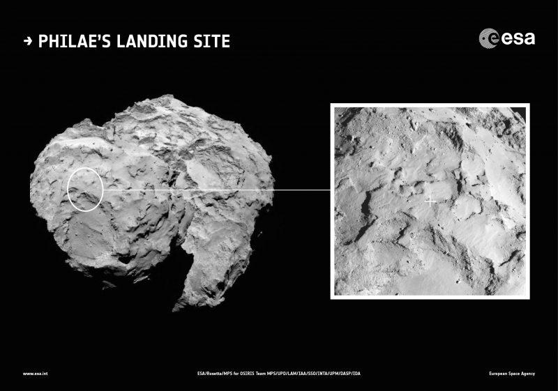 Tu wyląduje Philae. Fot.  ESA/Rosetta/MPS for OSIRIS Team MPS/UPD/LAM/IAA/SSO/INTA/UPM/DASP/IDA