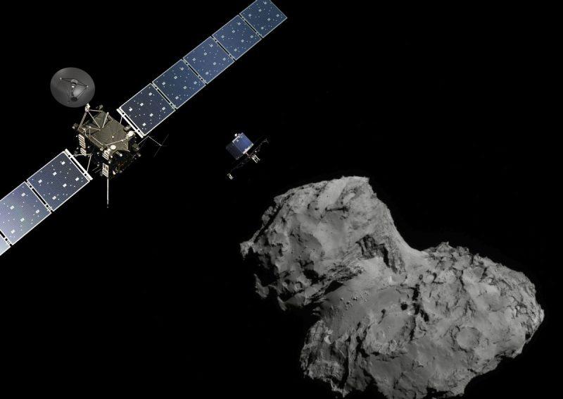 Rosetta, Philae i kometa Czuriumow -Gierasymienko. Fot. ESA/ATG medialab; Comet image: ESA/Rosetta/Navcam