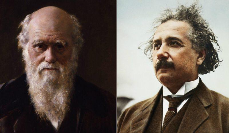 Portret Karola Darwina pędzla Johna Colliera oraz zdjecie Alberta Einsteina z ok. 1921 roku, kiedy przyznano mu nagrodę Nobla. Fot. Wikimedia