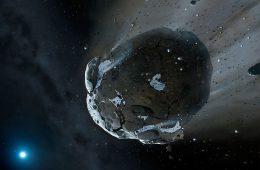 Lodowa asteroida. Rys. NASA, ESA, M.A. Garlick (space-art.co.uk), University of Warwick, and University of Cambridge.