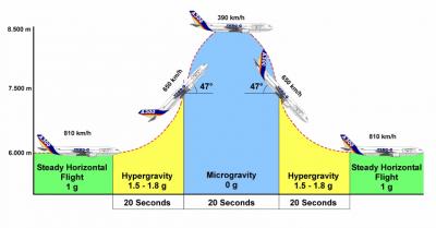 Schemat toru lotu parabolicznego w wykonaniu samolotu Airbus A300. Źródło: http://www.leem.es/en/