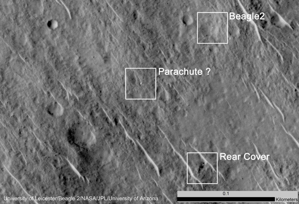 Położenie Beagle-2 na powierzchni Marsa na zdjęciu wykonanym przez sondę  Mars Reconnaissance Orbiter (NASA). Fot. HIRISE/NASA/Leicester