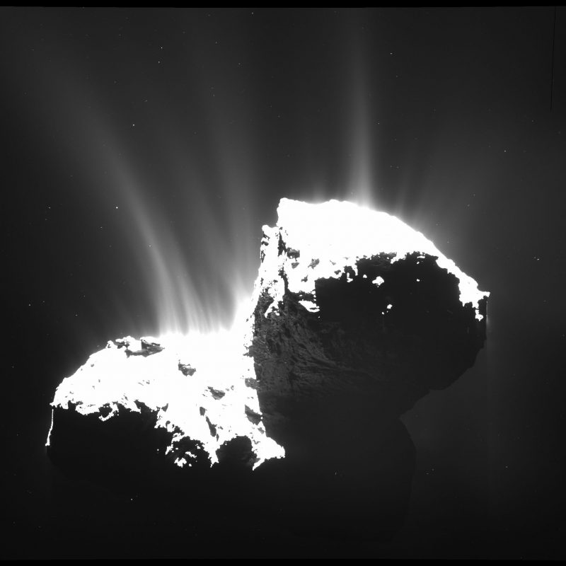 Aktywność komety 67P/Czuriumow-Gierasimienko - zdjęcie z 22 listopada 2014. Kliknij, by obejrzeć zdjęcie w dużej rozdzielczości. Fot. ESA/Rosetta/MPS for OSIRIS Team MPS/UPD/LAM/IAA/SSO/INTA/UPM/DASP/IDA