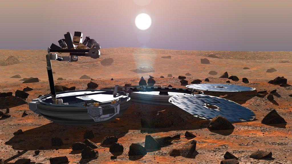 Wizualizacja lądownika Beagle-2 na Marsie. Rys. ESA