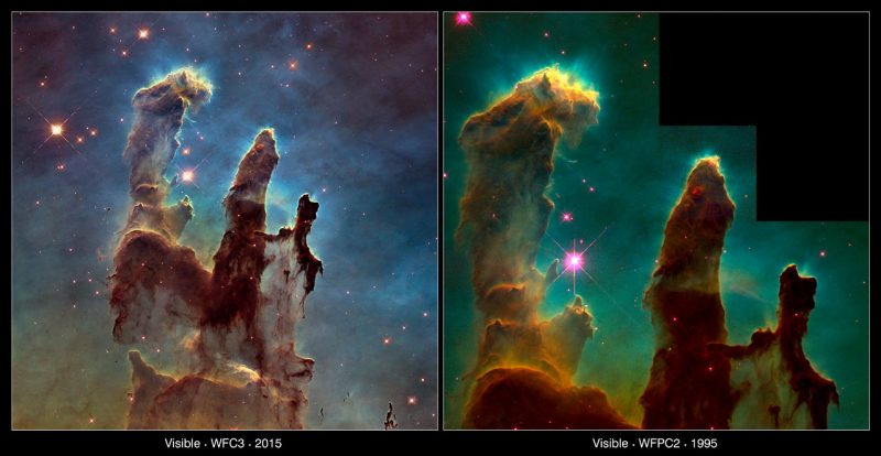 Filary Stworzenia - zdjęcia z 2014 i 1995 roku. Fot NASA, ESA/Hubble and the Hubble Heritage Team/NASA, ESA/Hubble, STScI, J. Hester and P. Scowen (Arizona State University)