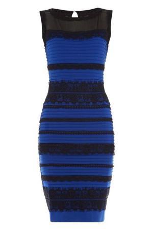 Tak wygląda sukienka na zdjęciu katalogowym. Fot. fot. Roman Women's Lace Detail Bodycon Dress Royal Blue | Amazon