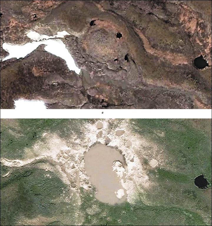 Przed i po: na górze widać obszar przed serią eksplozji metanu; na dole widocznych jest wiele kraterów, które zostały zalane wodą i połączyły się w spore jeziono otoczone mniejszymi kraterami.  Fot. Wasilij Bogojawleński/Rosyjska Akademia Nauk
