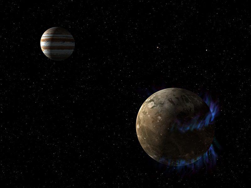 Zorze na Ganimedesie. Rys. NASA, ESA i G. Bacon (STScI)