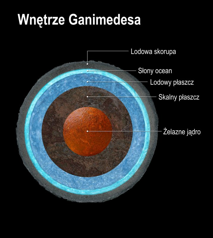 Przekrój Ganimedesa. Rys. NASA, ESA i A. Feild (STScI)