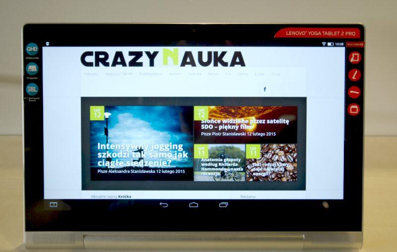Lenovo Yoga Tablet 2 Pro z Crazy Nauką. Fot. CN