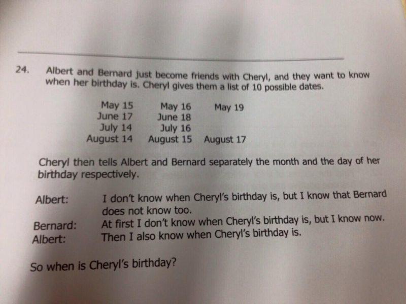 Kiedy są urodziny Cheryl? Zadanie logiczne z singapurskiej olimpiady matematycznej dla 15-latków