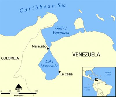 Mapa okolic jeziora Maracaibo. Źródło: Wikimedia
