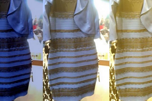 """Sukienka w trzech typach oświetlenia (od lewej): wersja katalogowa, oryginalne zdjęcie, wersja """"nasłoneczniona"""". Źródło: Tumblr"""