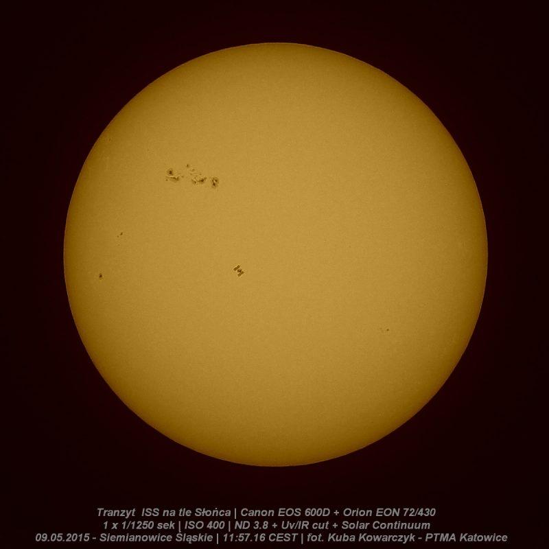 Międzynarodowa Stacja Kosmiczna na tle tarczy Słońca. Fot. Kuba Kowarczyk [KLIKNIJ BY POWIĘKSZYĆ]