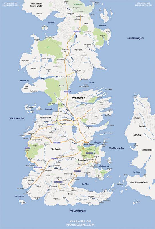 Mapa Westeros stylizowana na Google Maps. Źródło