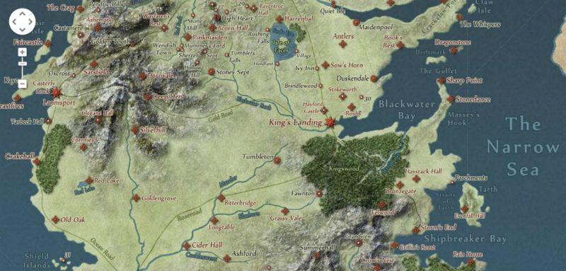"""Mapa świata z """"Pieśni lodu i ognia"""". Źródło"""