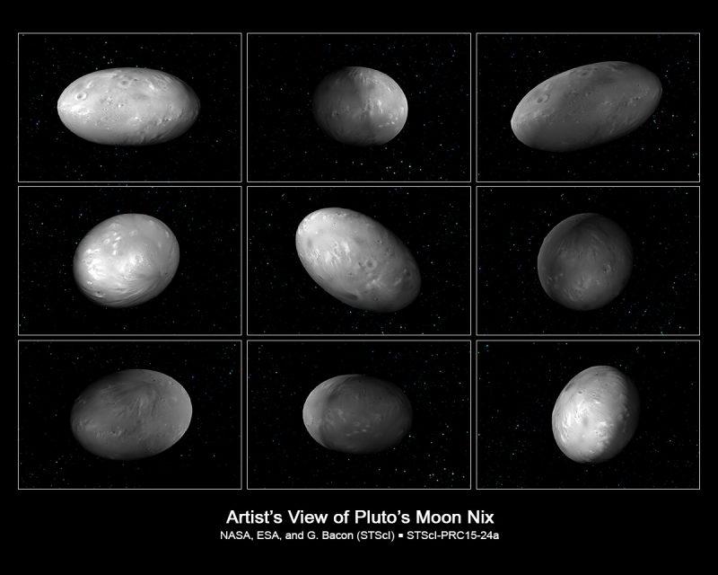 Dzień i noc na księżycu Nix. Fot. NASA, ESA, M. Showalter (SETI Institute), and G. Bacon (STScI)
