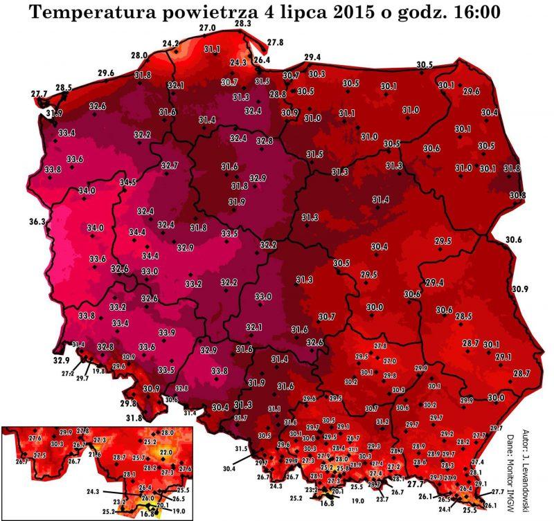 Temperatury w Polsce 4 lipca 2015 o godz. 16. Rys. Jarosław Lewandowski/meteomodel.pl
