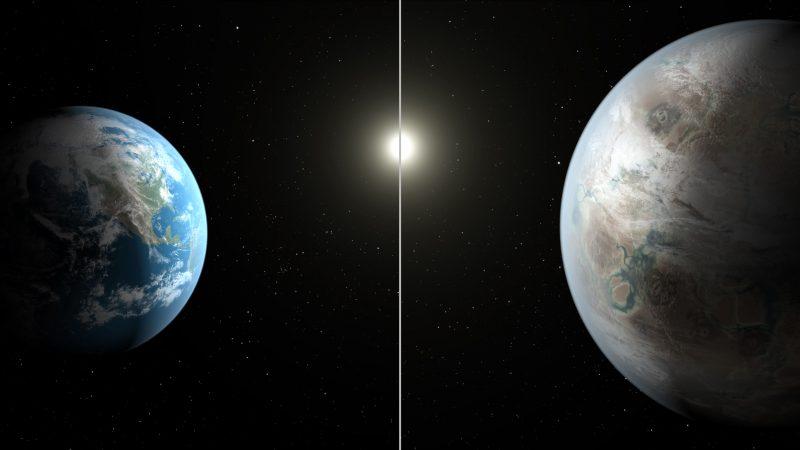 Porównanie Ziemi i Kepler-452b - nowa planeta jest większa, większe jest też gwiazda, wokół której krąży. Fot. Credits: NASA/JPL-Caltech/T. Pyle