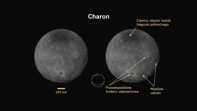 Geologia Charona. Widać uskoki lub wąwozy świadczące o procesach geologicznych zachodzących na księżycu Plutona. Największa z tych struktur jest dłuższa i głębsza od Wielkiego Kanionu, a przecież Charon ma tylko 1200 km średnicy. Fot. NASA