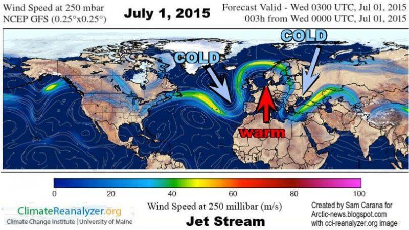 Jak prąd strumieniowy (jet stream) blokuje masy nad Europą masy powietrza znad Sahary. Źródło: http://arctic-news.blogspot.com/
