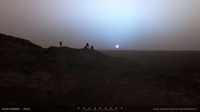"""Bladoniebieski zachód Słońca na Marsie. Źródło: Erik Wernquist """"Wanderers"""""""