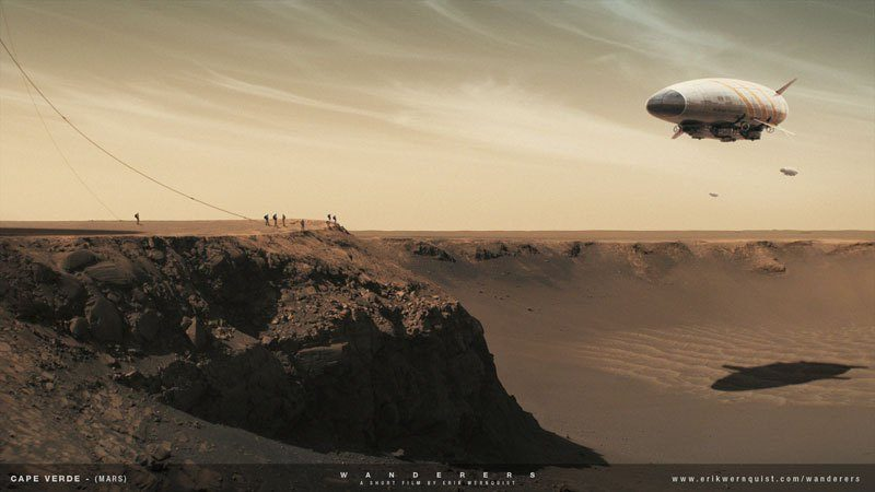 """Na powierzchni Marsa. Źródło: Erik Wernquist """"Wanderers"""""""