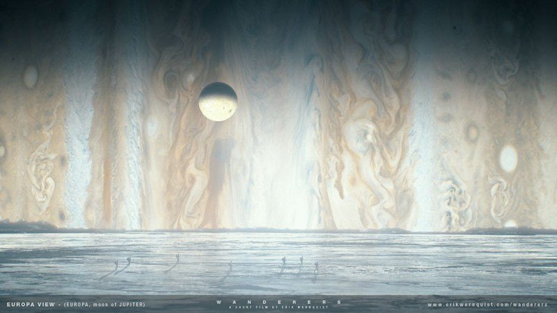"""Na powierzchni Europy, księżyca Jowisza. Źródło: Erik Wernquist """"Wanderers"""""""